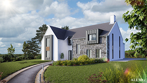 3D CGI Architeural Visualisation Detached House stone ireland country