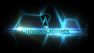 3D CGI Clinical cabinets aniamted logo motion graphics medical clean rooom blue
