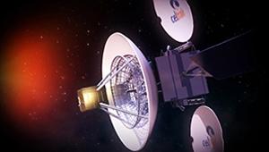 3D CGI animation satellite antenna space