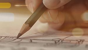 Video design sketch sketchbook pencil lens flare golden light medical device