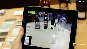 Web mobile app designar augmented reality applicaiton clear glass refraction bottle fmcg design iPad Apple