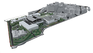 3D CGI Architectural visualisation competition graphics minimal aerial view cell shaded