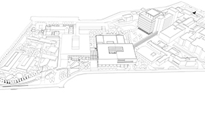 3D CGI Architectural visualisation competition graphics minimal aerial view line drawing sketch 02