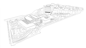 3D CGI Architectural visualisation competition graphics minimal ghosted characters hospital tender