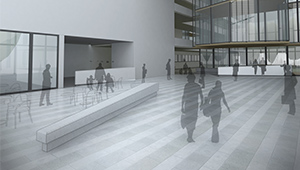 3D CGI Architectural visualisation competition graphics minimal ghosted characters lobby tender